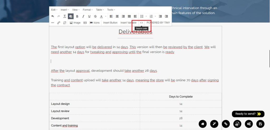Editar código fonte da proposta